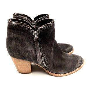 Women's Gray Suede Ankle Zipper Boots